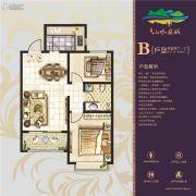 山水龙城三期天筑2室2厅1卫77--80平方米户型图