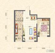 中天富城1室2厅1卫0平方米户型图