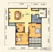 海德公园3室2厅1卫114平方米户型图