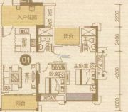 优越香格里2室1厅2卫89平方米户型图