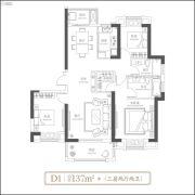 武汉�吃酶�3室2厅2卫137平方米户型图