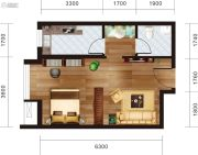 宏府・麒麟山1室1厅1卫60平方米户型图