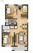 万科城3室2厅1卫93平方米户型图