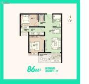 安联生态城2室2厅1卫86平方米户型图