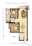 华建新城2室2厅2卫99平方米户型图