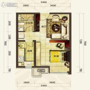 华发首府1室1厅1卫51平方米户型图
