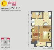 外滩梅园0室0厅0卫63平方米户型图