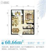 南海之滨1室2厅1卫60平方米户型图