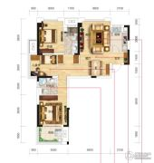 名流世家3室2厅2卫104平方米户型图
