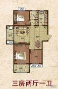 东方新卡纳3室2厅1卫0平方米户型图