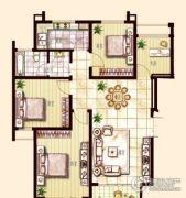 东方帝景城3室2厅2卫120平方米户型图