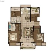 华润悦府3室2厅2卫117平方米户型图