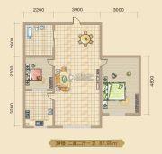 大林兴隆家园2室2厅1卫87平方米户型图