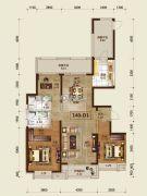 吉林昌邑万达广场3室2厅2卫140平方米户型图