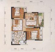 名爵世家2室2厅1卫77平方米户型图