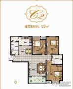 亚星锦绣山河3室2厅1卫122平方米户型图