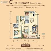 1号公馆3室2厅2卫117平方米户型图
