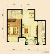 鸿坤・曦望山1室2厅1卫63平方米户型图