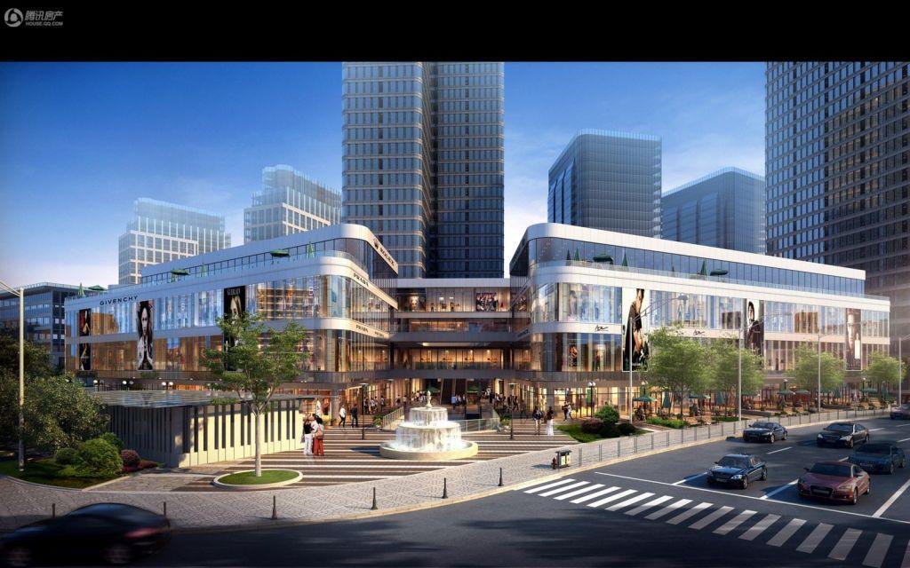 星湖国际广场商业主入口日景鸟瞰效果图