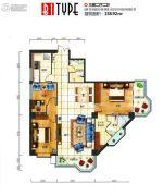 芙瑞双子国际2室2厅2卫136平方米户型图
