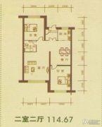月潭壹英里2室2厅1卫114平方米户型图