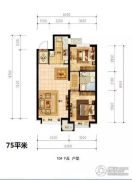 潮白河孔雀城盛景澜湾2室2厅1卫75平方米户型图