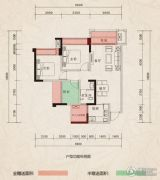 翰林府邸3室2厅1卫74--90平方米户型图