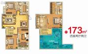 天朗大兴郡4室2厅2卫173平方米户型图