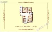 广杰龙湖华庭3室2厅1卫124平方米户型图