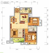 中泰美域3室2厅1卫87平方米户型图