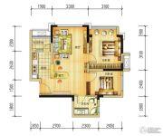 长虹和悦府2室2厅1卫61平方米户型图