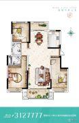名门城3室2厅2卫124--134平方米户型图