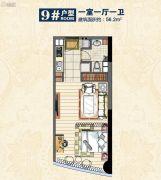 惠丰广场1室1厅1卫56平方米户型图