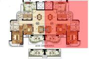 悦盈新城2室2厅2卫106平方米户型图