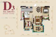 蜀镇3室2厅1卫78平方米户型图