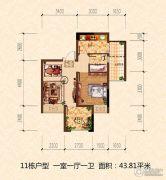 鸥鹏泊雅湾1室1厅1卫43平方米户型图