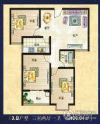 美巢蓝钻3室2厅1卫106平方米户型图