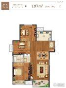 金科城3室2厅1卫107平方米户型图