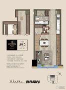 绿地旭辉城・峰汇1室2厅1卫0平方米户型图