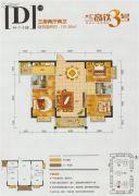 高铁3号3室2厅2卫101平方米户型图