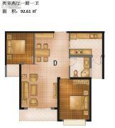 城南绿地2室2厅1卫92平方米户型图