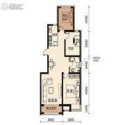 梦想天成2室2厅1卫85平方米户型图
