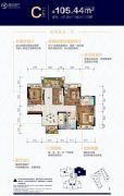 敏捷・水映澜山3室2厅2卫105平方米户型图