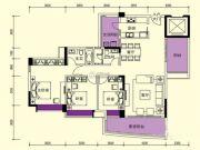 富逸上苑3室2厅2卫136平方米户型图