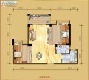 香岸华府二期2室2厅1卫87平方米户型图