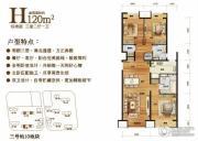 中粮万科长阳半岛3室2厅1卫120平方米户型图