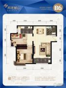 天洋城4代2室2厅1卫88平方米户型图