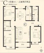 星河湾・荣景园3室2厅2卫135平方米户型图