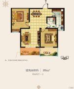 香榭里・定鼎广场2室2厅1卫99平方米户型图