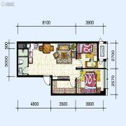 华府新天地2室2厅1卫81平方米户型图